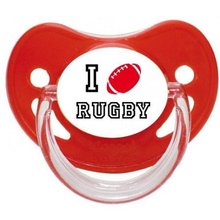 """Sucette personnalisée """"I love rugby"""""""