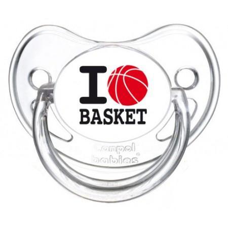 """Sucette personnalisée """"I love basket"""""""