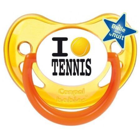 """Sucette personnalisée """"I love tennis"""""""