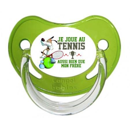 """Sucette personnalisée """"Je joue au tennis aussi bien que mon frère"""""""