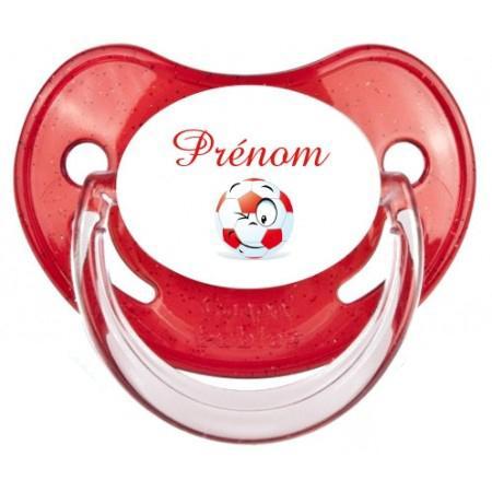 Sucette personnalisée foot ballon rouge et Prénom