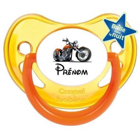 Sucette personnalisée moto et Prénom