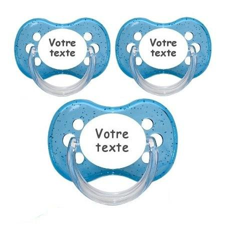 Sucettes personnalisées cerise paillettes (bleu)