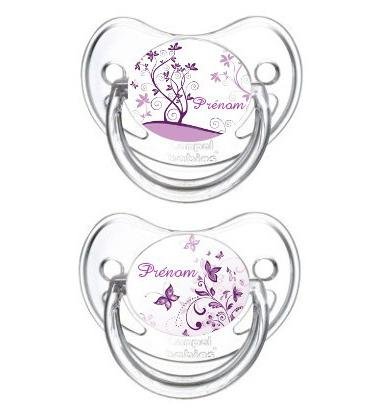 Lot de 2 Sucettes bébé personnalisée papillon violet