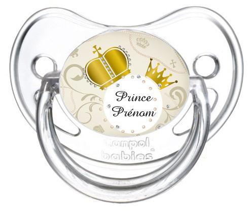 """Sucette personnalisée """"prince"""" et prénom"""