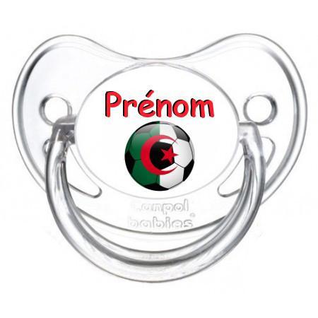 Sucette personnalisée Ballon foot Algérie et prénom