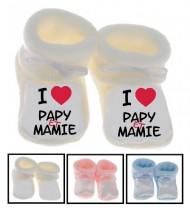 Chaussons bébé I love papy et mamie