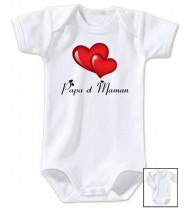 Body bébé Papa Maman Coeurs