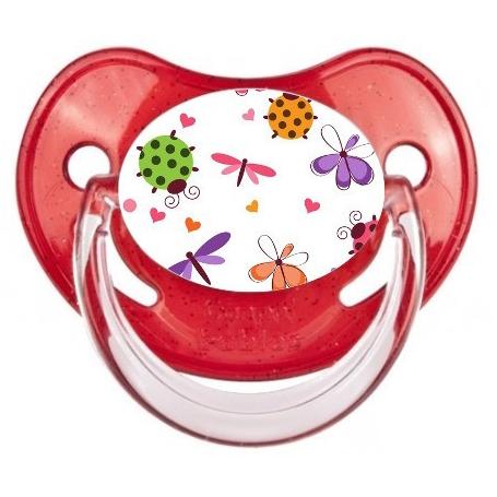 Sucette de bébé papillons coccinelles