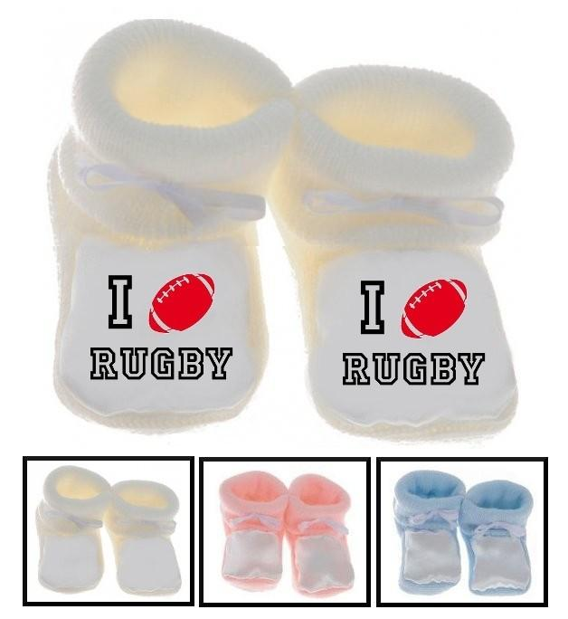 Chaussons bébé I love rugby
