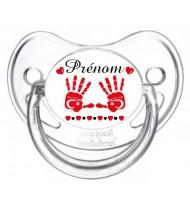 Sucette personnalisée main de bébé Turquie et prénom