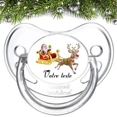 """Sucette bébé personnalisée """"Père Noël et renne"""""""