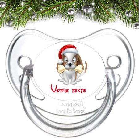 """Sucette bébé personnalisée """"Chien Noël"""""""