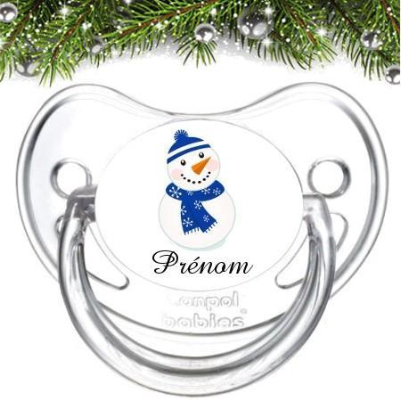 Sucette bébé personnalisée bonhomme de neige bleu