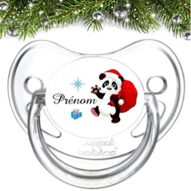 Sucette de bebe famille panda de noël et prénom