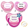 Lot de 3 Sucettes personnalisées fille (physiologique) chupa rose / a paillette rose / fluo rose