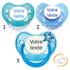 Lot de 3 Sucettes personnalisées garçon (physiologique) chupa bleu / a paillette bleu / fluo bleu