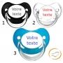 Lot de 3 Sucettes personnalisées chupa garçon (physiologique) chupa noir / transparente / bleu