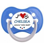 Sucette foot personnalisée J'aime Chelsea
