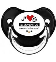 Sucette foot personnalisée J'aime la Juventus
