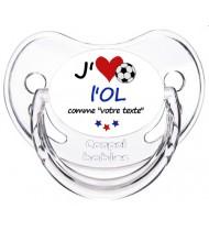 Sucette foot personnalisée J'aime l'Olympique Lyonnais