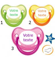 Lot de 3 Sucettes personnalisées fluo verte / jaune / rose (physiologique)