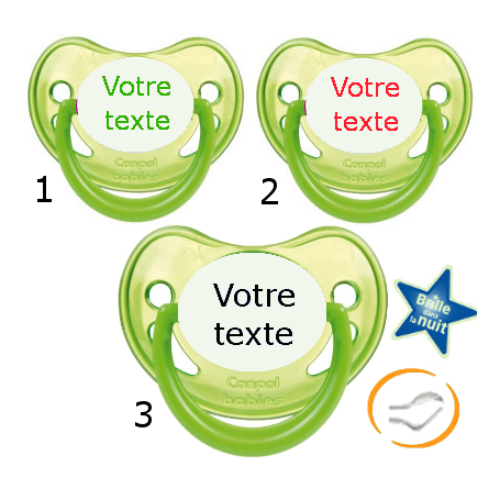 Lot de 3 Sucettes personnalisées fluo verte (physiologique)