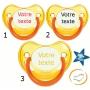 Lot de 3 Sucettes personnalisées fluo jaune (physiologique)