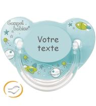 Sucette bébé personnalisée machine turquoise