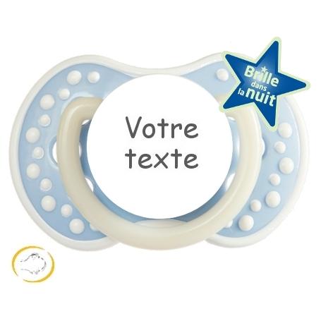 Sucette bébé personnalisée Night and Day bleu douceur