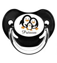 Sucette personnalisée pingouin et prénom