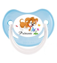 Sucette personnalisée chien fleur et prénom