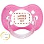 Sucette personnalisée photo anatomique à paillettes rose