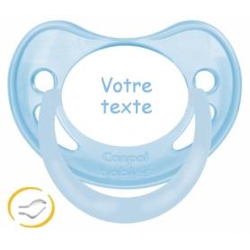 Sucette bébé personnalisée physiologique pastel bleue
