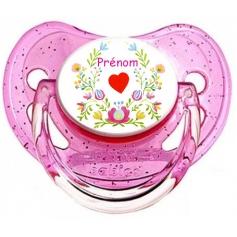 Sucette personnalisée coeur et fleurs personnalisée