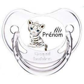 Sucette personnalisée tigre blanc personnalisée