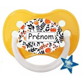 Tétine de bébé florale orange personnalisée
