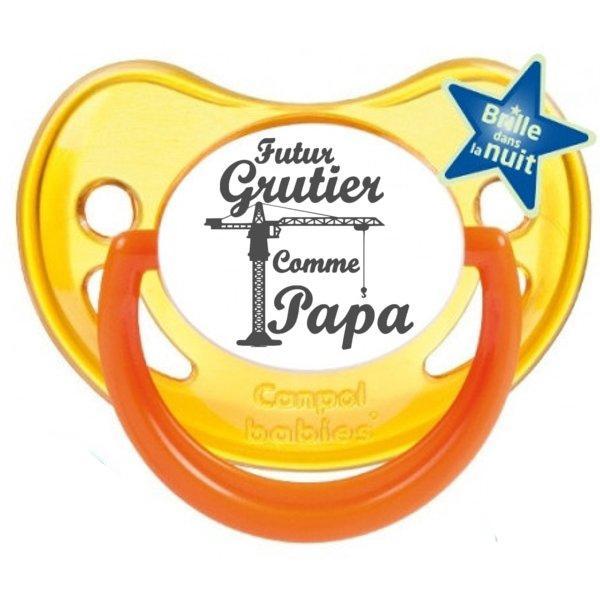 """Sucette bébé originale """"futur grutier comme mon papa"""""""