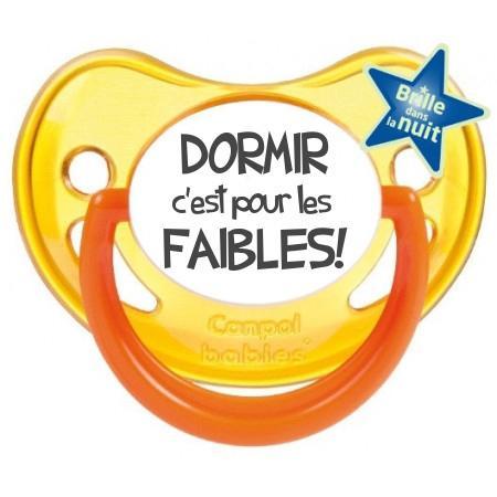 """Sucette bébé humour """"Dormir c'est pour les faibles"""""""