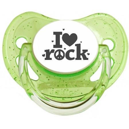 """Sucette bébé originale """"I love Rock"""""""