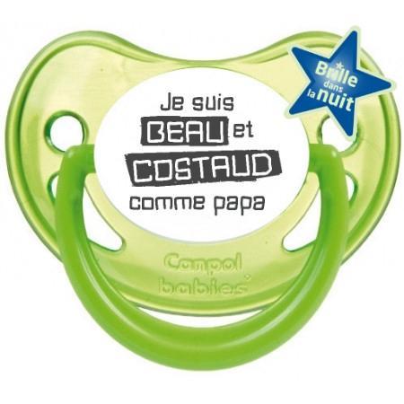 """Sucette bébé humour """"Je suis beau et costaud comme papa"""""""
