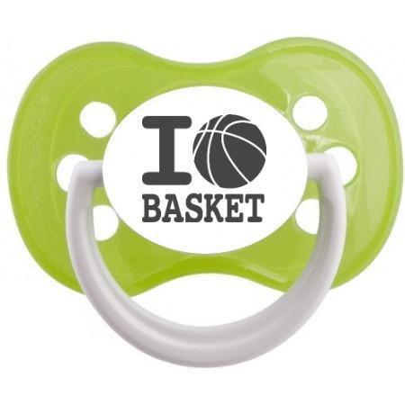 """Sucette bébé originale """"I love basket"""""""